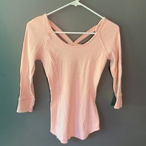 Free People ¾ Sleeve Ribbed Top Light Pink Strappy